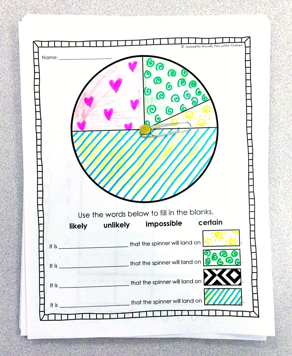 worksheet Probability Spinner Worksheet fun with firsties our probability unit worksheets activities it simply features a spinner 3 different sized sections similar to the one on paper below several questions disc