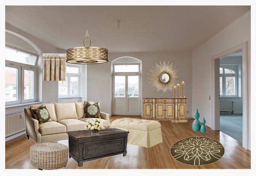 Jeia's inspirasjon: materialplansje av stue
