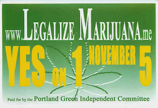 Flyer for  Portland Maine city ordinance to legalize marijuana