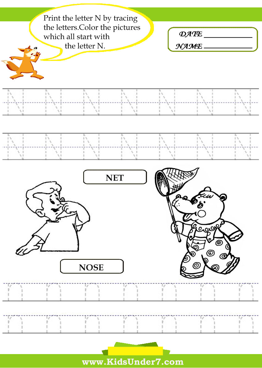 math worksheet : kids under 7 alphabet worksheets trace and print letter n : Letter N Worksheets Kindergarten