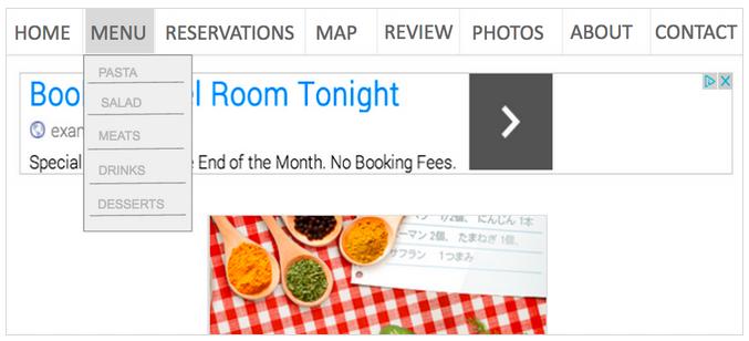 menu dropdown melanggar google adsense