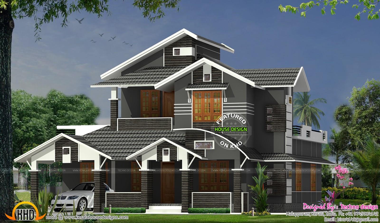 Front Elevation Slanting Roof Design : Slanting roof color and texture great design
