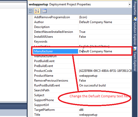 change publisher name for setup in visual studio 2010