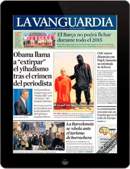 Diario La Vanguardia España (21 Agosto 2014) ESPAÑOL - Obama llama a extirpar el yihadismo tras el crimen del periodista