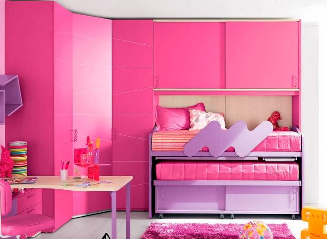 Dormitorio lila y rosa para ni as habitaci n para ni as - Armarios para habitacion nina ...
