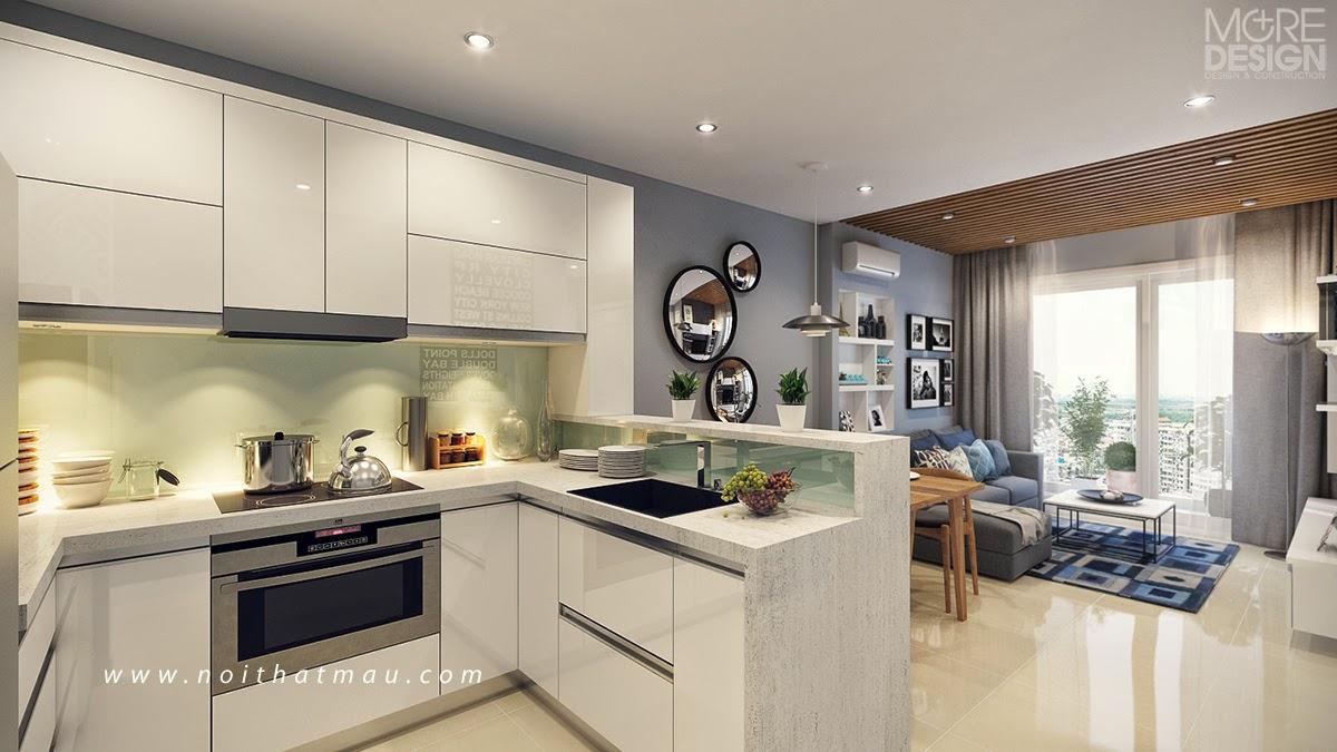 Phòng bếp được thiết kế nhỏ gọn và khoa học, đủ tiện nghi