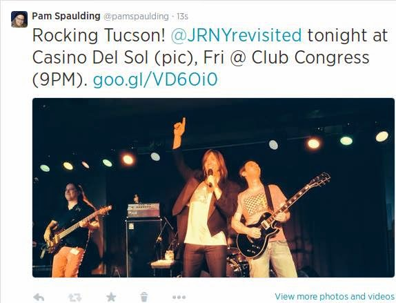 @pamspaulding: Rocking Tucson! @JRNYrevisited tonight at Casino Del Sol (pic), Fri @ Club Congress (9PM). http://goo.gl/VD6Oi0