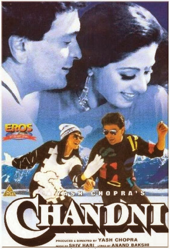 Poster Of Bollywood Movie Chandni (1989) 300MB Compressed Small Size Pc Movie Free Download worldfree4u.com