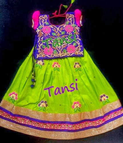 Floral Work Parrot Green Kids Lehenga