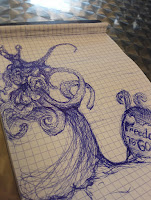 Octopus woman, doodle, freedom is gone, work