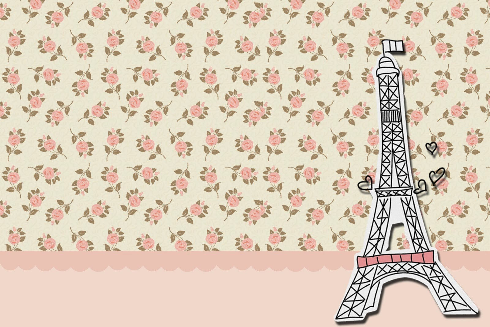 Paris with roses free printable cards or invitations - Papel vintage pared ...