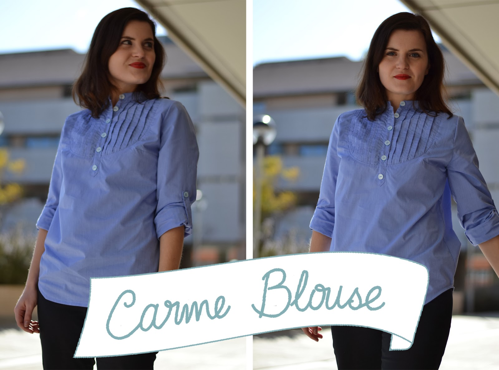 carme blouse pattern, blouse pattern, pauline alice, pin tuck, yoke, button placket, sleeve tab