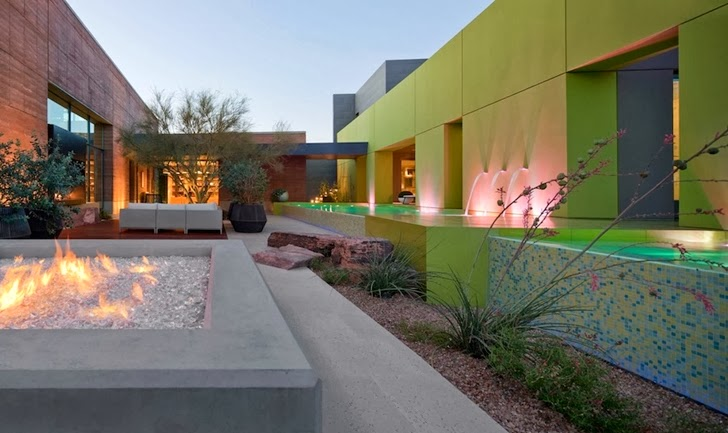 Outdoor fireplace in Multimillion modern dream home in Las Vegas
