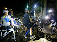 Blue Sky group ride.  Lighting up the woods at SMBA Thursday night.  L to R:  Allison, Jenn, Doug, John, Nate, Mike.  The Saratoga Skier and Hiker, first-hand accounts of adventures in the Adirondacks and beyond, and Gore Mountain ski blog.