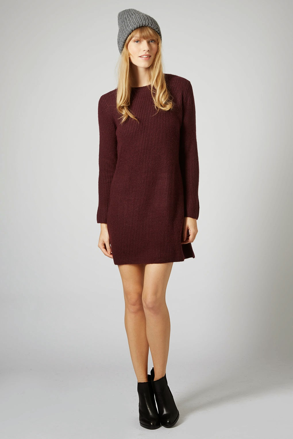 burgundy jumper dress