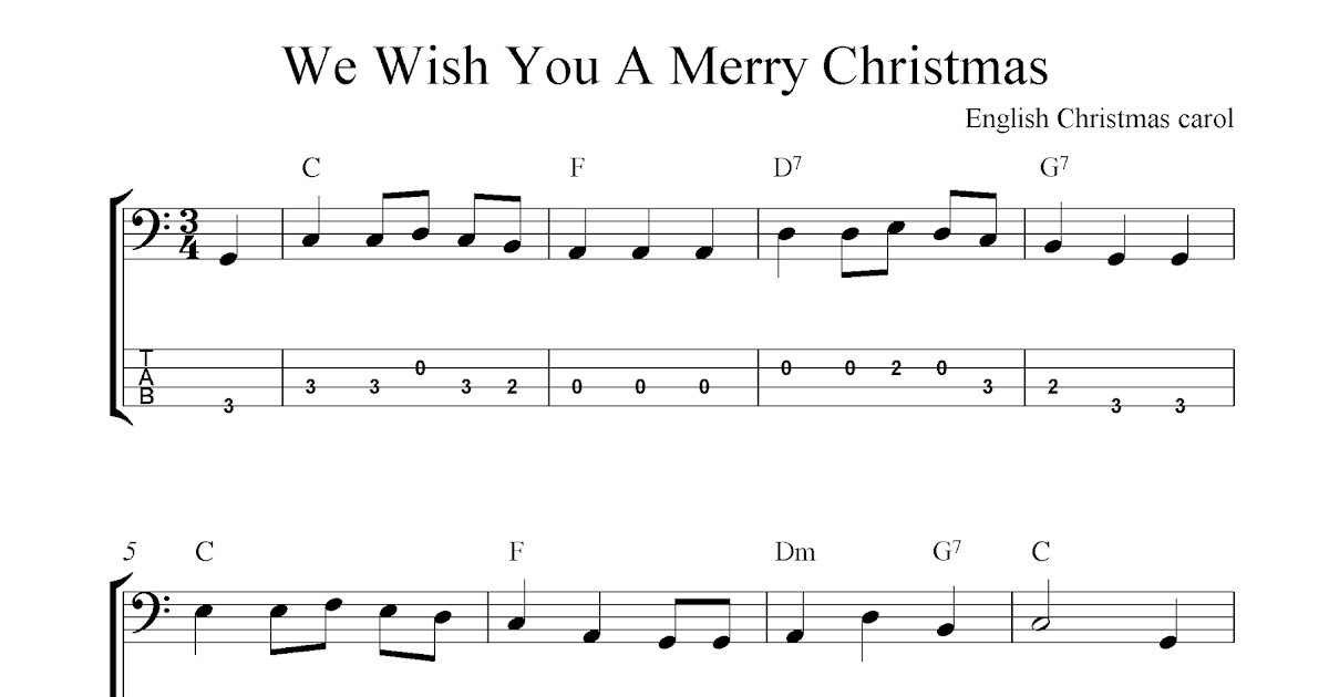 We Wish You A Merry Christmas, free Christmas bass tab sheet music notes