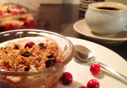 Cranberry Crumble served on plate with coffee. Gluten free dessert option