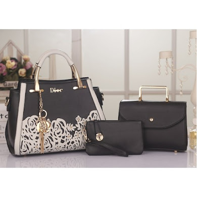 DIOR DESIGNER BAG (3 IN 1 SET) - Black