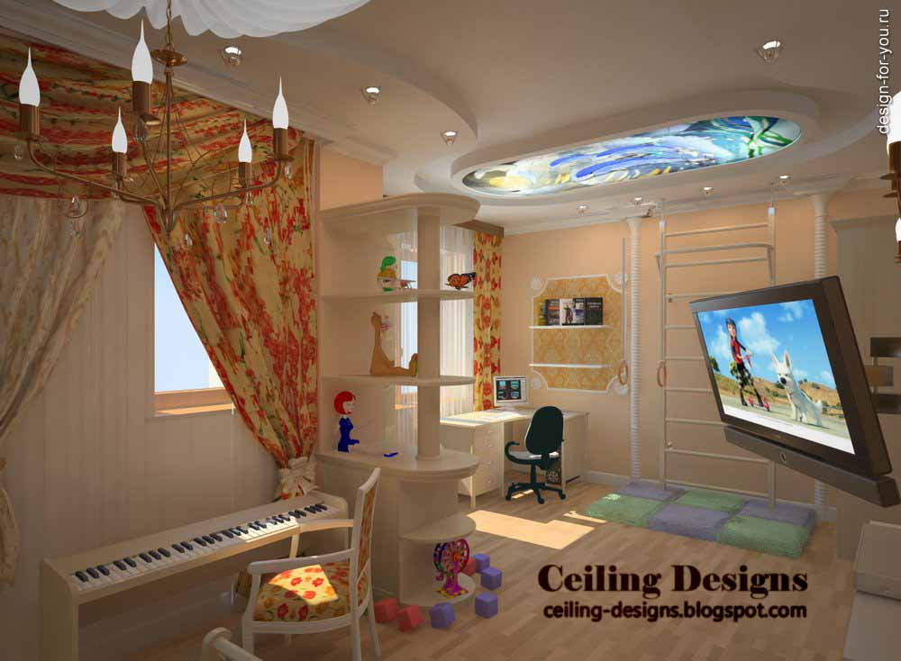 gypsum false ceiling designs for kids room with ceiling murals