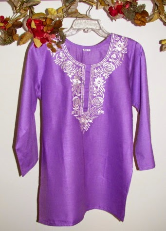 Purple Designer Cotton Tunic