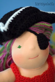 pirate patch tricorn hat Tansy dolls waldorf doll bamboletta costumes