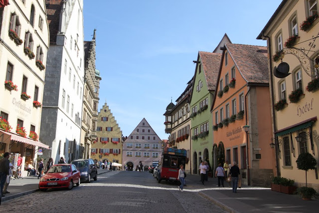 The famous Christmas stores which open all year round, are situated along this street in Rothenburg, Germany