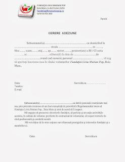 Cerere adeziune - voluntar