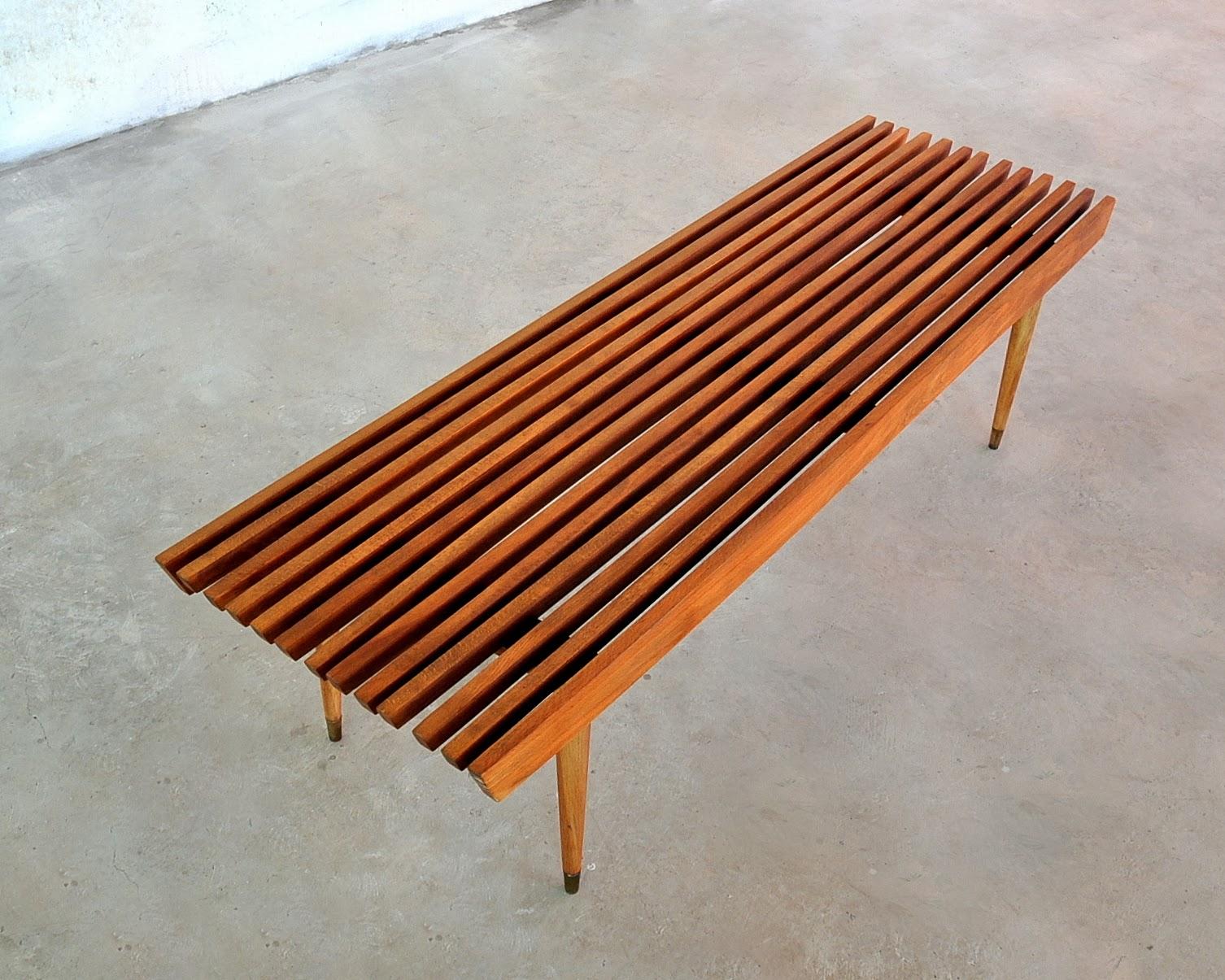 Select Modern Mid Century Modern Slat Bench