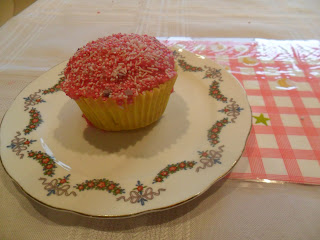 Yummy strawberry yoghurt cupcakes with pink glace icing