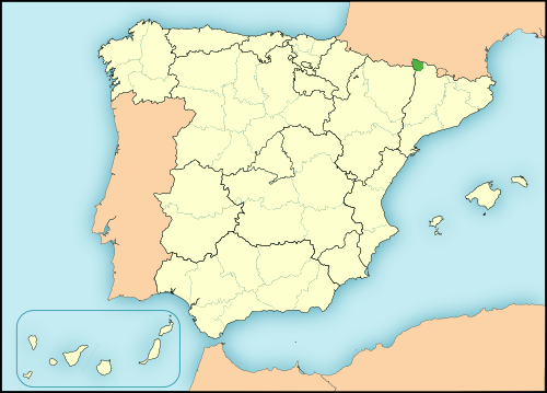 Aranese language in Spain map
