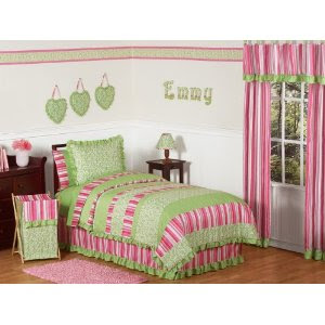 Pink and Green Olivia Girls Kids & Teen Bedding 4pc Twin Set