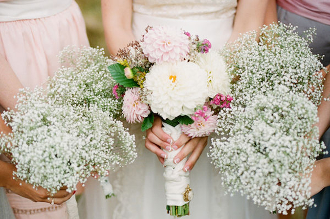 Bridesmaid bouquets completly made out of baby s breath top bottom