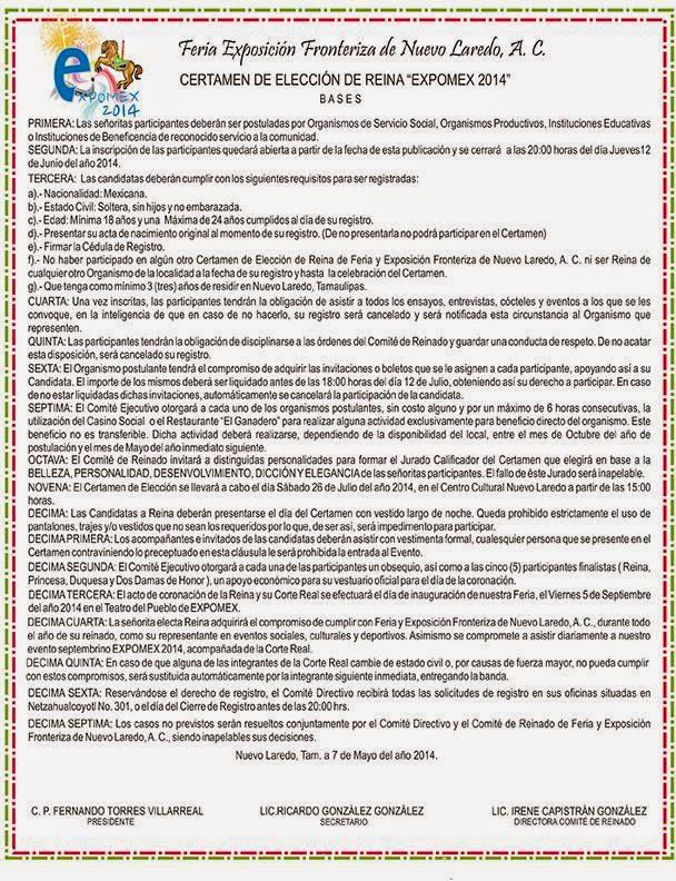 convocatoria eleccion de reina expomex 2014