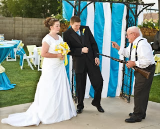 funny wedding picture granddad with rifle