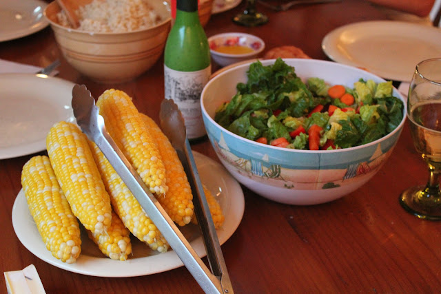 Corn on the cob and salad