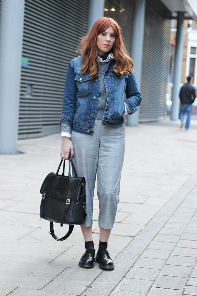 Denim Jacket and Grey Trousers - UK Fashion Blogger The Goodowl