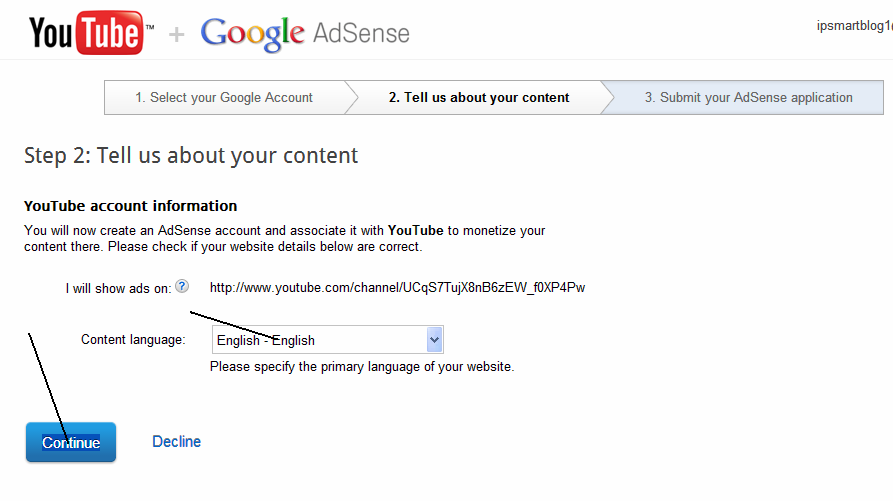 how to connect youtube to adsense