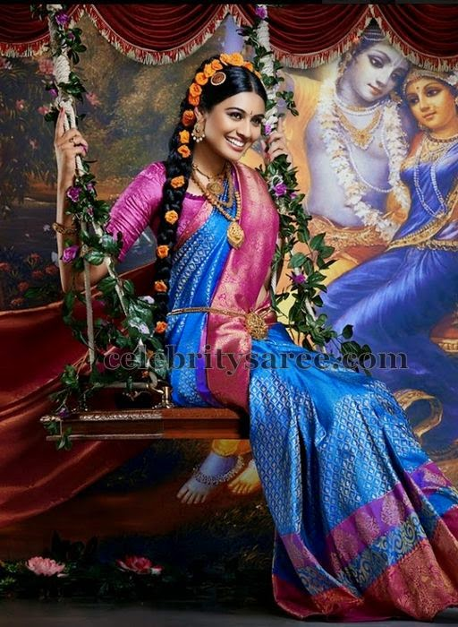 Bride in Blue Benaras Saree