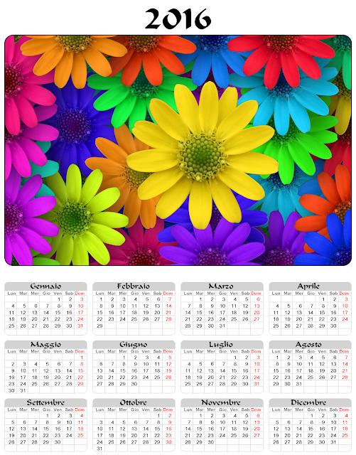 Calendario 2016 fiori