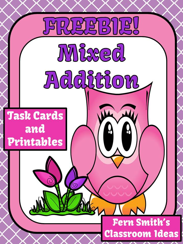 Fern Smith's Classroom Ideas FREEBIE Mixed Addition Easter Task Cards and Printables