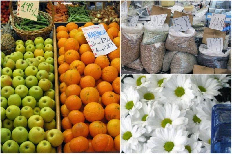 Mercado del Sur de Gijon – Productos en los puestos del mercado: fruta, legumbres, quesos, flores