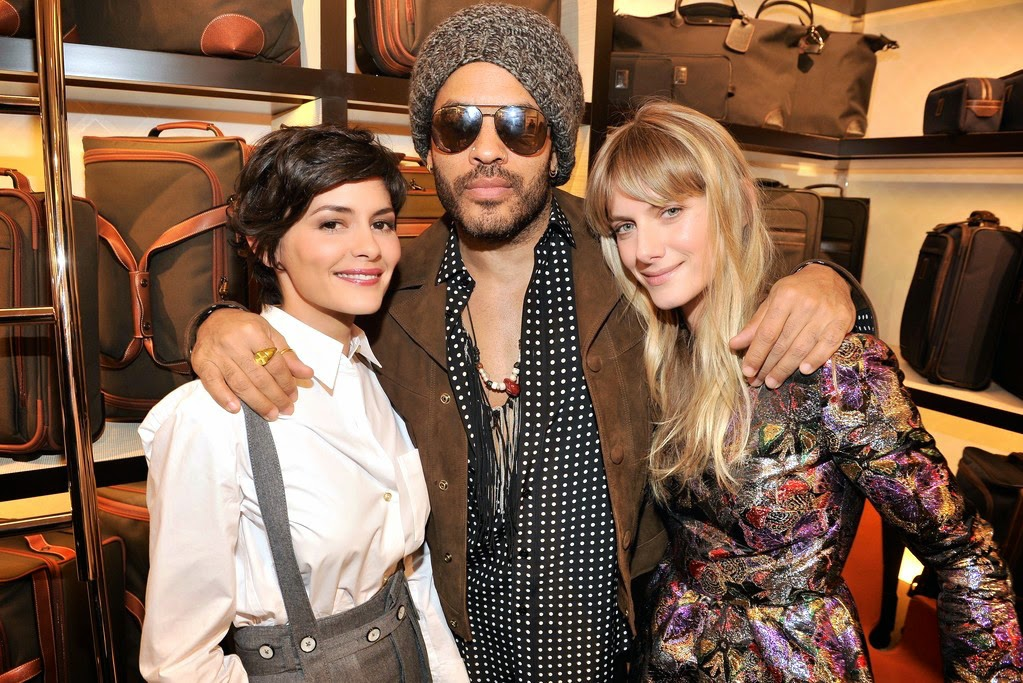 Lenny Kravitz wearing Saint Laurent Spring Summer 2015 brown suede jacket at Longchamp Elysees Lights On Party Boutique Launch 4th December 2014 Paris France