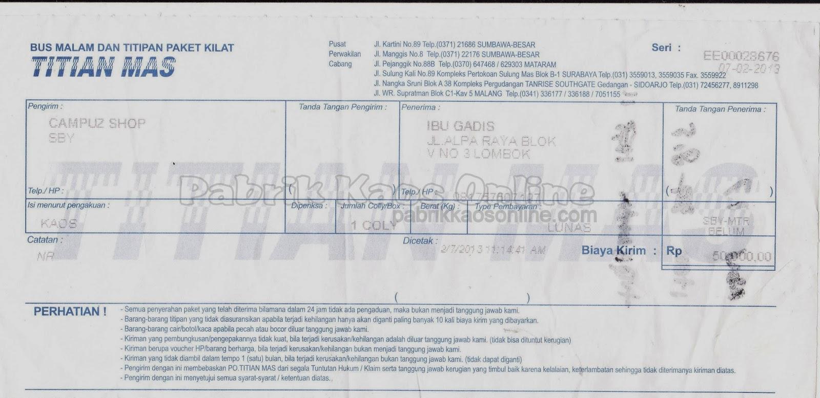 nota kirim Lombok via TITIAN MAS
