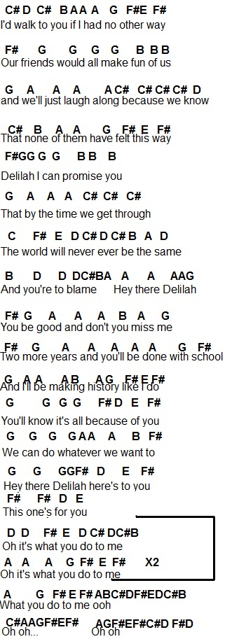 Hey there delilah guitar chords
