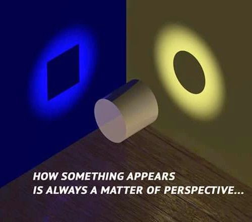 """How something appears is always a matter of perspective..."" ~ Unknown; Drawing of a cylinder floating in a corner. Light causes the shadow of the object to look like a circle on one wall and a square on the other wall."
