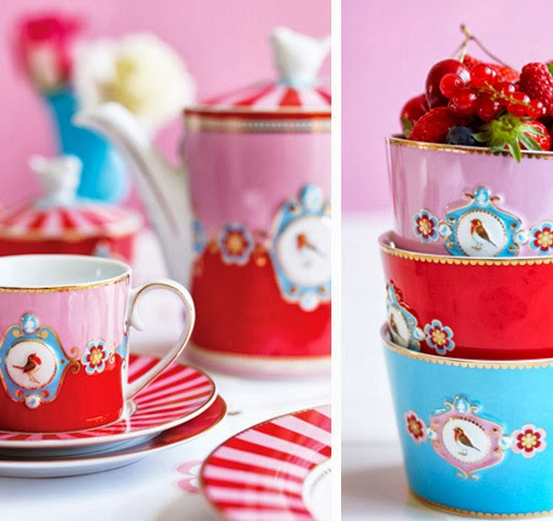 PiP Love Birds Cup and Saucer Cappuccino Red © PIP Studio