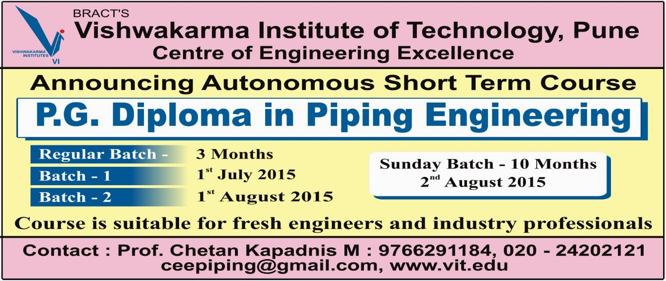 Piping Engineering Course Vit Pune Layout Notes Announcing At