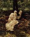 Leon Tolstoi leyendo en el bosque, 1891 (63), pintura de Ilya Repin