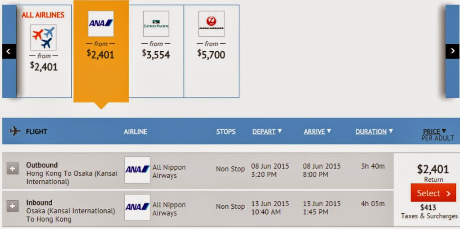 ANA香港往返大阪$2,376起,連稅價錢$2,814