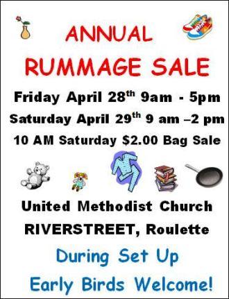 4-28,4-29 Annual Rummage Sale Roulette